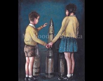 The World's Fair, Original Painting, New York, Children, 1939, Bombs, War, Surreal, History, Military History, 20th Century, Macabre Art