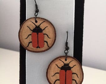 Orange Beetle Recycled Wood Earrings Orange and Black Bugs Insects on Re-purposed Wood Slice Charm Hand Painted Earrings