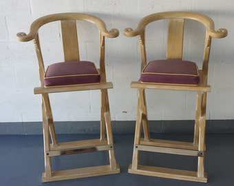 Pair of 1980's Asian Style Back  Bar stools Shipping Not Included