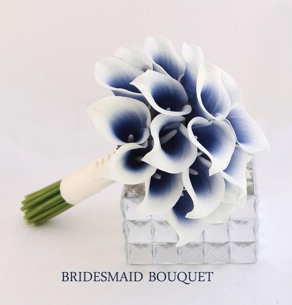 Navy wedding flowers bridesmaid bouquet navy blue bouquet mightylinksfo