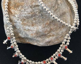 Masha Flash Sale Native American Sterling Silver Mini Squash Blossom Coral Naja Necklace 16.5