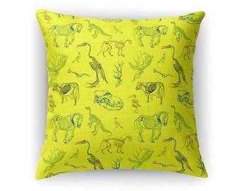 Animal Skeletons Lime-Yellow Throw Pillow