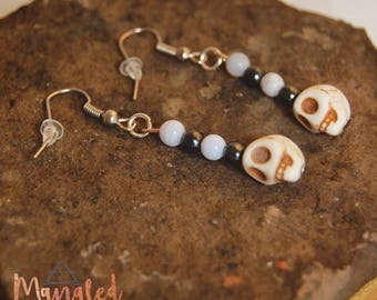 Hematite and Blue Lace Agate Skull Earrings