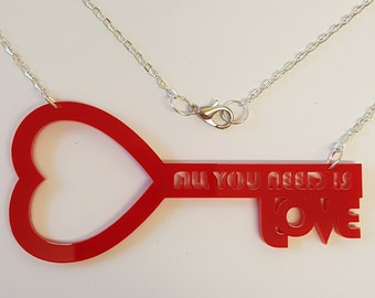 All you need is Love Heart Key Necklace - Acrylic