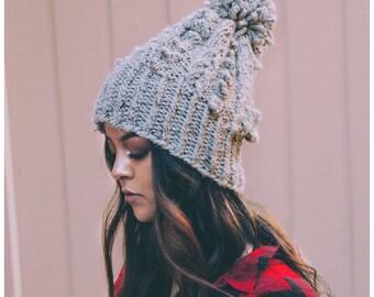Knit Beanie   Knit Pom Pom Hat   Winter Knit Beanie   Chunky Knit Beanie   Womens Gift   Winter Hat   Pom Pom Beanie