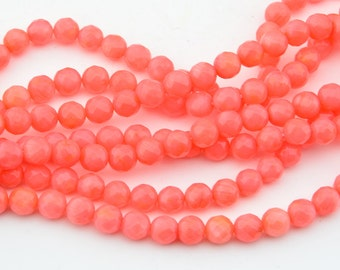 16 Inch  Pink  Coral  6mm Faceted   Round Bead ,  Semi Precious Coral