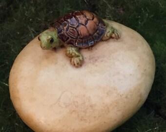 Mini Turtle on Stone, Tortoise on Rock, Fairy Garden Accessory, Miniature Gardening, Home & Garden Decor, Topper, Shelf Sitter, Figurine