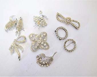 Lot of 8 Vintage Rhinestone Brooches and Pins