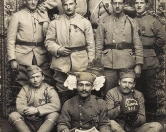 c.1918 St. Amarin Alsace, WWI French Uniformed Soldiers Group Portrait, Rare Photo Postcard; Postally Unused, Near Mint Condition