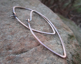 Copper Leaf Shaped Hoops
