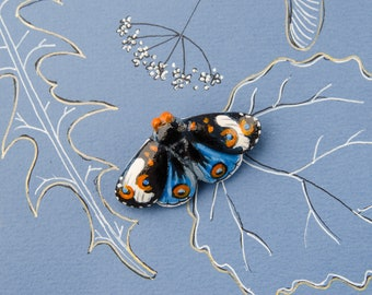 Color Butterfly Brooch, Tiny Exotic Bright Moth Pin, Handmade Exclusive Creative Clay, Insect Jewelry, Ready To Ship, 50 x 30 mm.