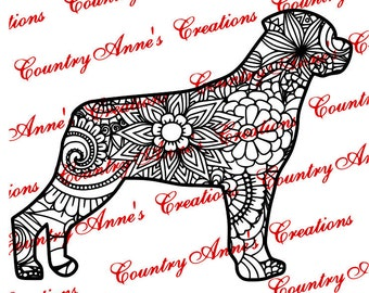 "SVG PNG DXF Eps Ai Wpc Cut file for Silhouette, Cricut, Pazzles - ""Rottweiler Zentangle"" svg- Let me make your pet"