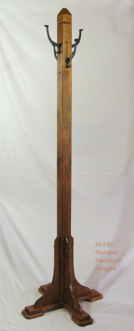 Mina Coat Tree Handmade Alder Wood 4 Cast Iron Hook Hat