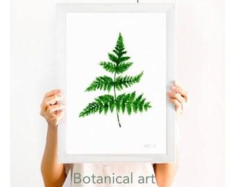Fern print. Botanical art print. Minimalist fern leaf from watercolor painting by Annemette Klit. Handmade fern painting. Fern giclee print