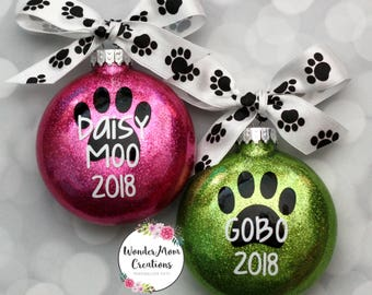 Paw Print Christmas Ornament; Personalized Paw Print Ornament; Pet Name Christmas Ornament; Dog Christmas Ornament; Cat Christmas Ornament