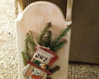 Wooden sled with snowman, sled with greenery, whitewashed sled with snowman,
