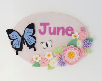 Flowers and butterfly woodland nursery personalized children's name sign / wall hanging in palest pink, cream, blush and lavender.