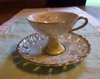Vintage Lustreware Yellow Floral Pedastal Tea Cup and Saucer