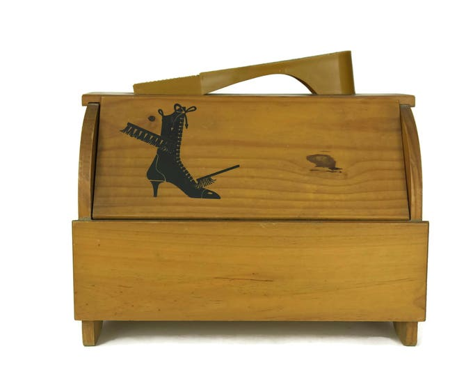Vintage Shoe Shine and Polishing Wood Box. French Ladies Shoe Care Wooden Chest with Bakelite Foot Rest and Handle. Shoe Grooming Tool.