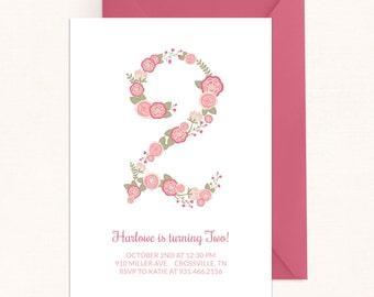 Floral Birthday Invitation / Floral Number Invitation / Floral Invitation / Spring Birthday / Digital / Spring Invitation / Flower Birthday