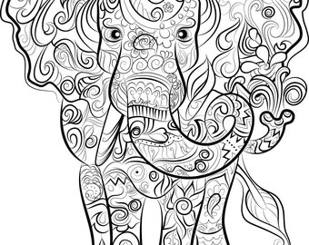Elephant Drawing  Instant download to print and colour
