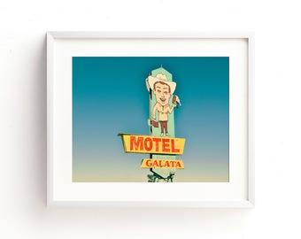 "retro sign, neon sign, mid century modern, vintage sign, large art, large wall art, canvas art, large canvas art, masculine - ""Motel Galata"""