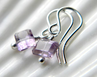 Tiny gem cut amethyst and sterling silver earrings - handmade jewelry