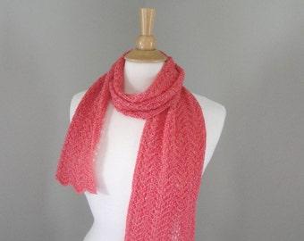 Cashmere Scarf, Watermelon Pink, Sparkly Metallic Scarf, Light Weight Summer Fashion, Hand Knit, Gold Sparkle