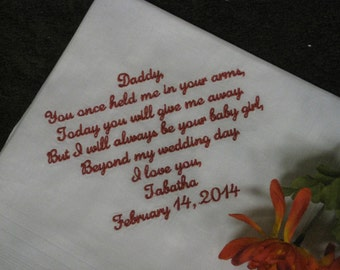 Personalized Wedding Handkerchief Father of bride - dad from his daughter - hankie - hanky gift