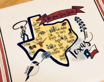 Texas State Map Kitchen/Tea Towel