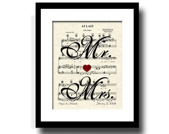 At Last Mr & Mrs Sheet Music Art Print, Custom Wedding and Anniversary Gift, Names and Date Art, First Dance Art