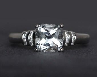 natural white topaz ring cushion cut engagement ring white topaz wedding ring sterling silver ring gemstone ring November birthstone ring