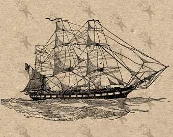 Vintage Image Nautical Sailing Ship Instant Download picture Retro drawing Digital printable clipart print Black white graphic HQ 300dpi
