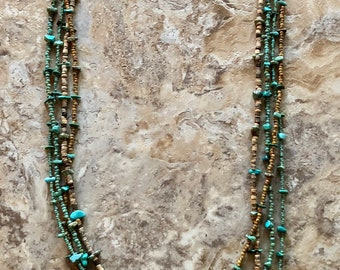 Long Coconut Wood and Turquoise Beaded Necklace