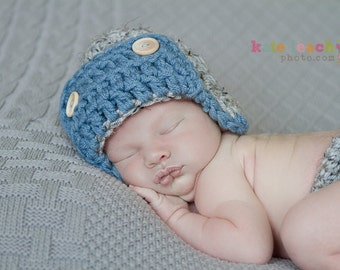 The Aviator Hat in Gray and Dusty Blue Available in Newborn to Adult Size- MADE TO ORDER
