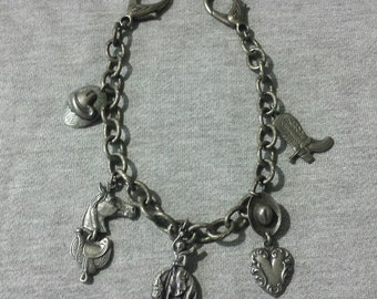 Retro Cowboy Boot Chain With 5 Charms