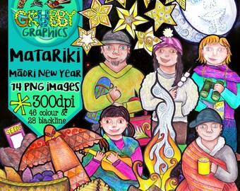 Matariki Clip Art, Māori New Year, Instant Digital Down load