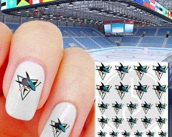 San Jose Sharks Waterslide Nail Decals