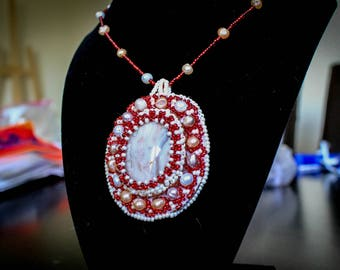 Agate Pendant - 100% Handmade Bead Embroidery Statement Piece, Genuine Agate & Fresh Water Pearls!