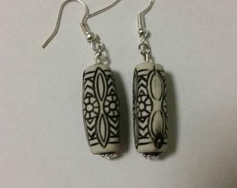 Black and grey earrings, beaded earrings, sterling silver earrings, black and white earrings