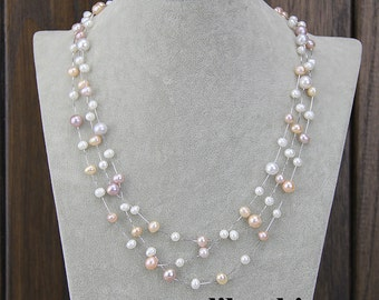 Pearl necklace,floating pearl necklace,pearl statement necklace,layered and extra long pearl necklace,multi colored necklace,bridal necklace