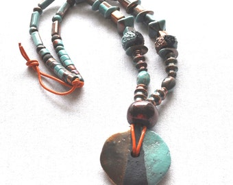 Necklace  Raku Ceramic Beads Mykonos Beads Orange Leather Cord