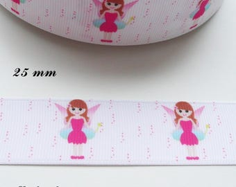 Fairy Faerie 25 mm white grosgrain Ribbon sold by 50 cm