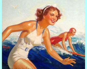 antique art deco illustration surfer girls pinup hawaii digital download