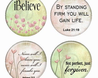 Christian Inspirational Sayings in Pastel Pink and Green Magnets or Pinback Buttons or Flatback Medallions Set of 4
