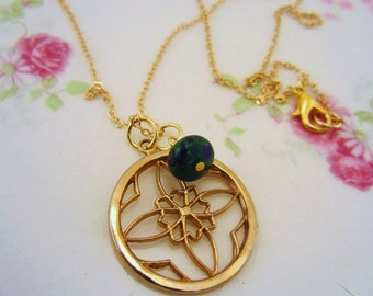 Flower necklace. Mandala. Gold charm necklace. Blue and green stone wire wrapped stone bead. Upcycled vintage charm. Yoga jewelry.
