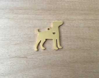 1 - Large Dog Charm - Gold Toned Brass - Layering Charms Minimal Jewelry Pendant (AS200)