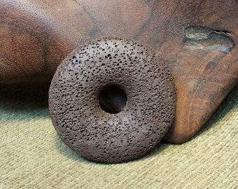 Sale #EarthDay ~ Chocolate Brown Round Volcanic Lava Rock Donut