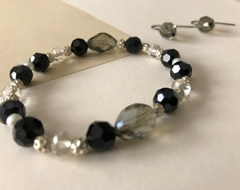 Black and Silver Bracelet and Earrings