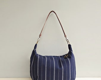 Zipper Cross Body Hobo Bag in Navy Blue Stripes, Hobo Bag Purse, Dark Blue Striped Slouch Bag , Custom Leather Strap, Zipper Bag, USA Made